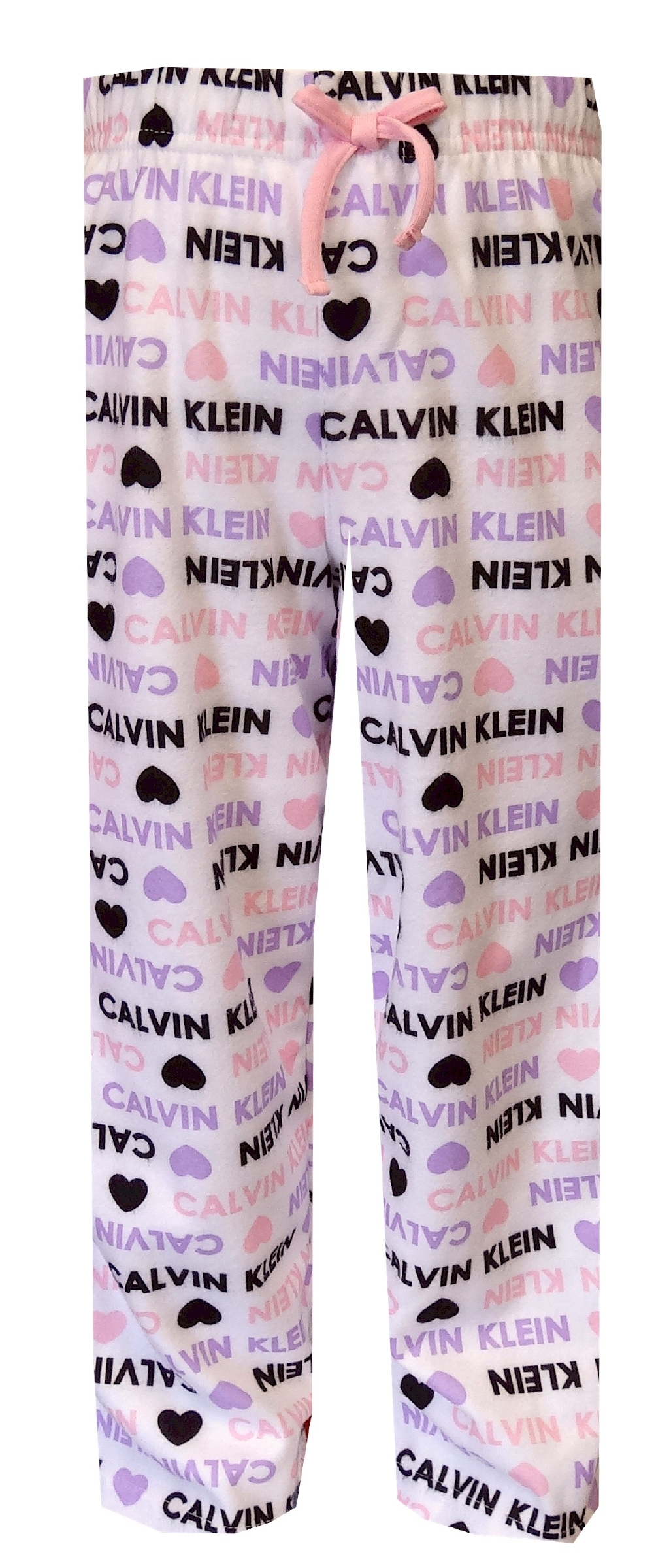 Image of Calvin Klein Pink and Purple Hearts Girls' Pajama Pants for girls