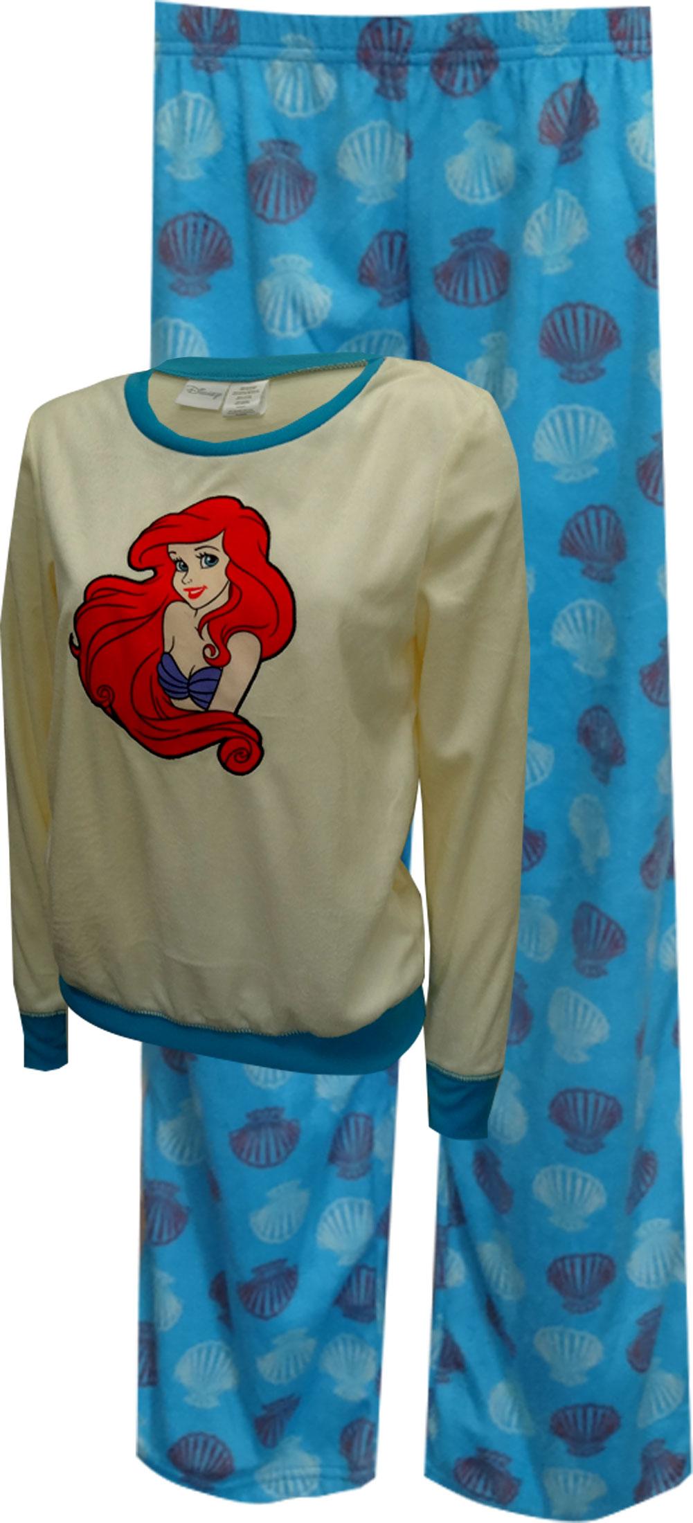 Disney Little Mermaid Princess Ariel Fleece Pajama Set for women
