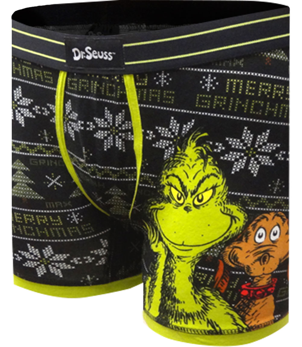 Image of Dr. Seuss The Grinch And Max Fair Isle Christmas Boxer Brief for men