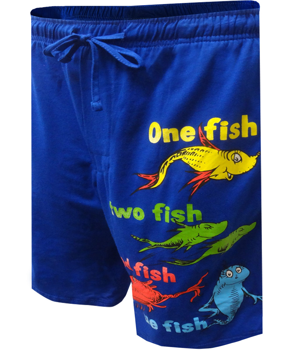 Image of Dr Seuss One Fish Two Fish Blue Lounge Shorts for men