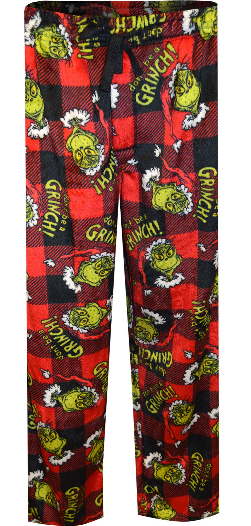 Image of Dr.Seuss Don't Be A Grinch Red Buffalo Plaid Plush Lounge Pants for men