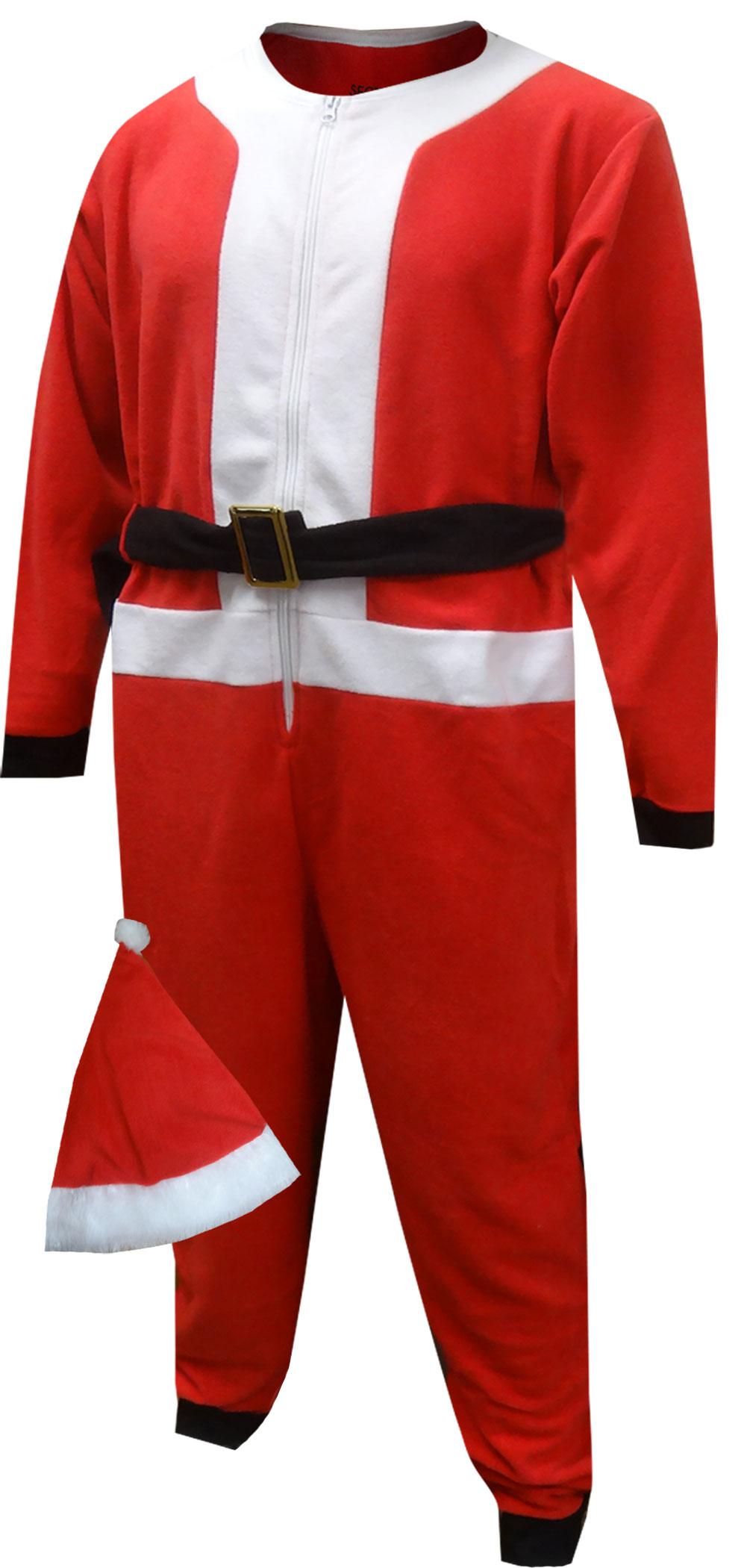Image of Santa Suit Fleece Men's One Piece Pajama with Hat for men