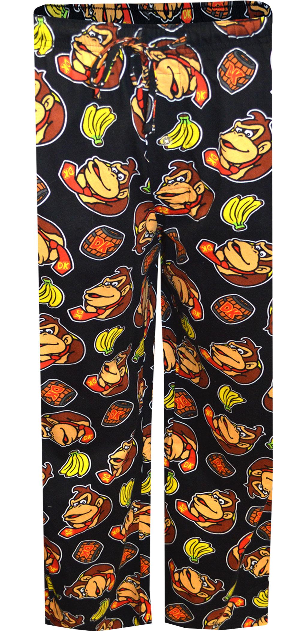 Image of Nintendo Donkey Kong Black Cotton Lounge Pants for men