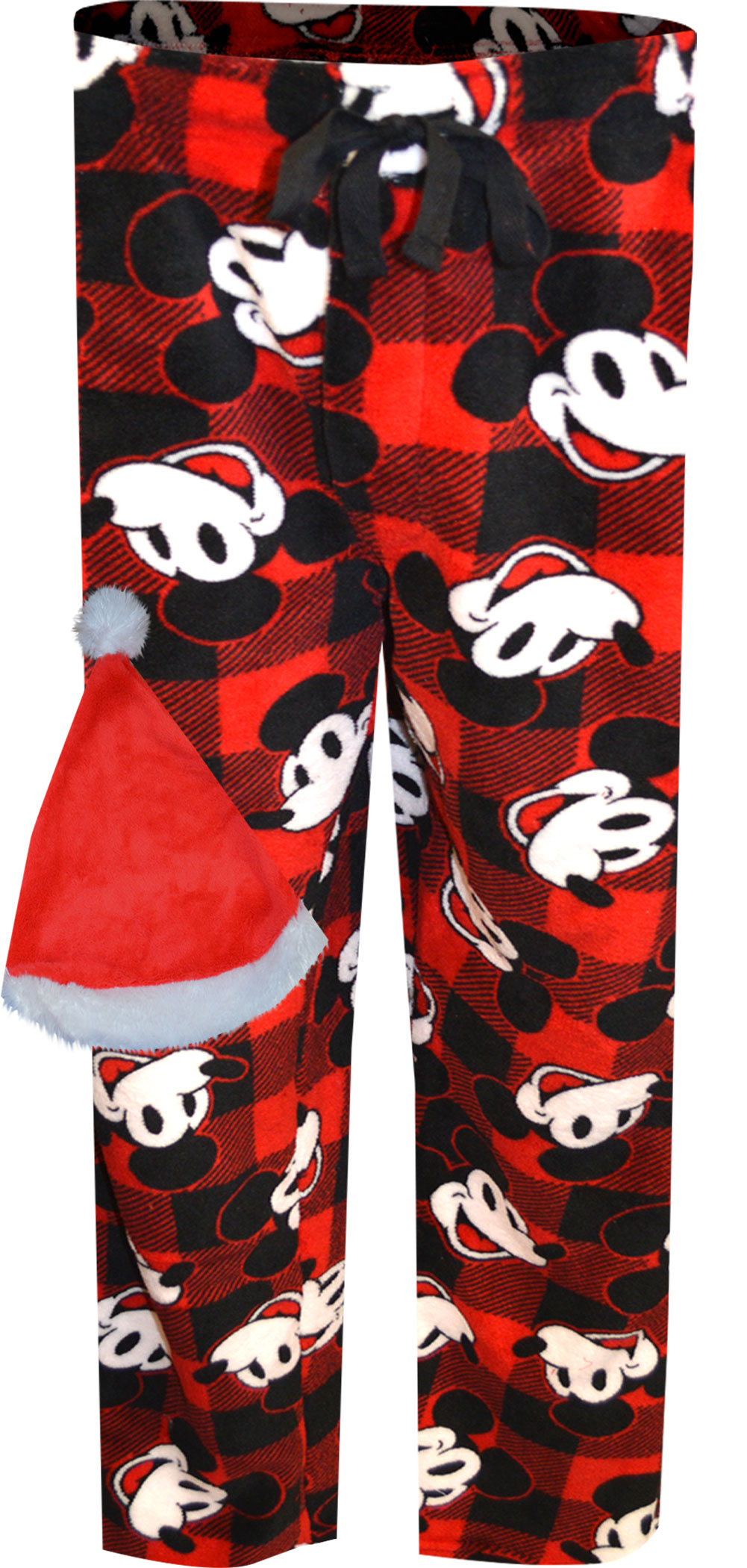 Image of Disney Mickey Mouse Buffalo Plaid Lounge Pants with Santa Hat for men