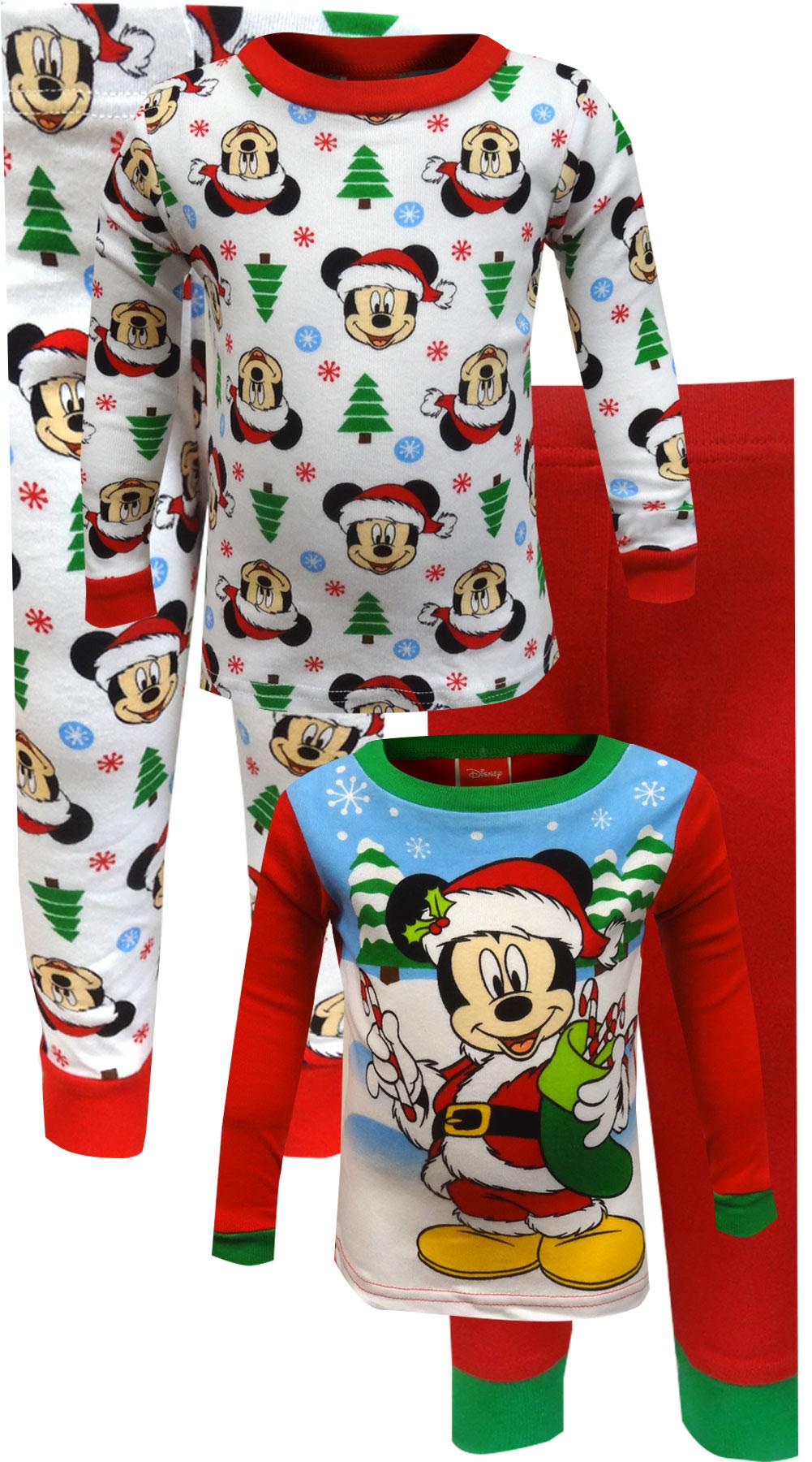 Image of Mickey Mouse Santa Christmas 4 Piece Infant Pajamas for Boys