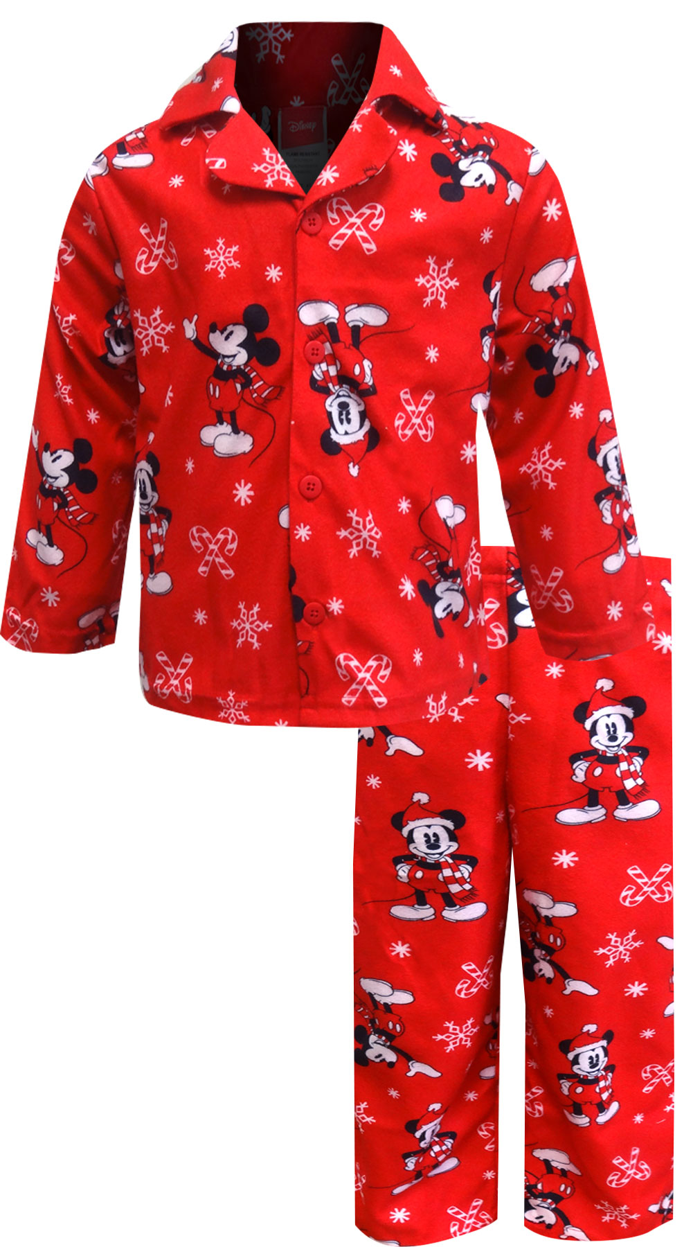 Image of Disney Mickey Mouse Christmas Flannel Toddler Pajamas for boys