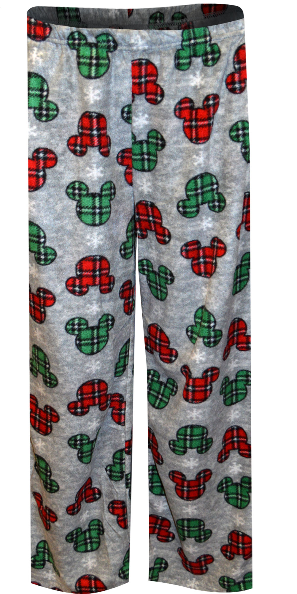 Image of Disney Mickey Mouse Plaid Ears Holiday Lounge Pants for women