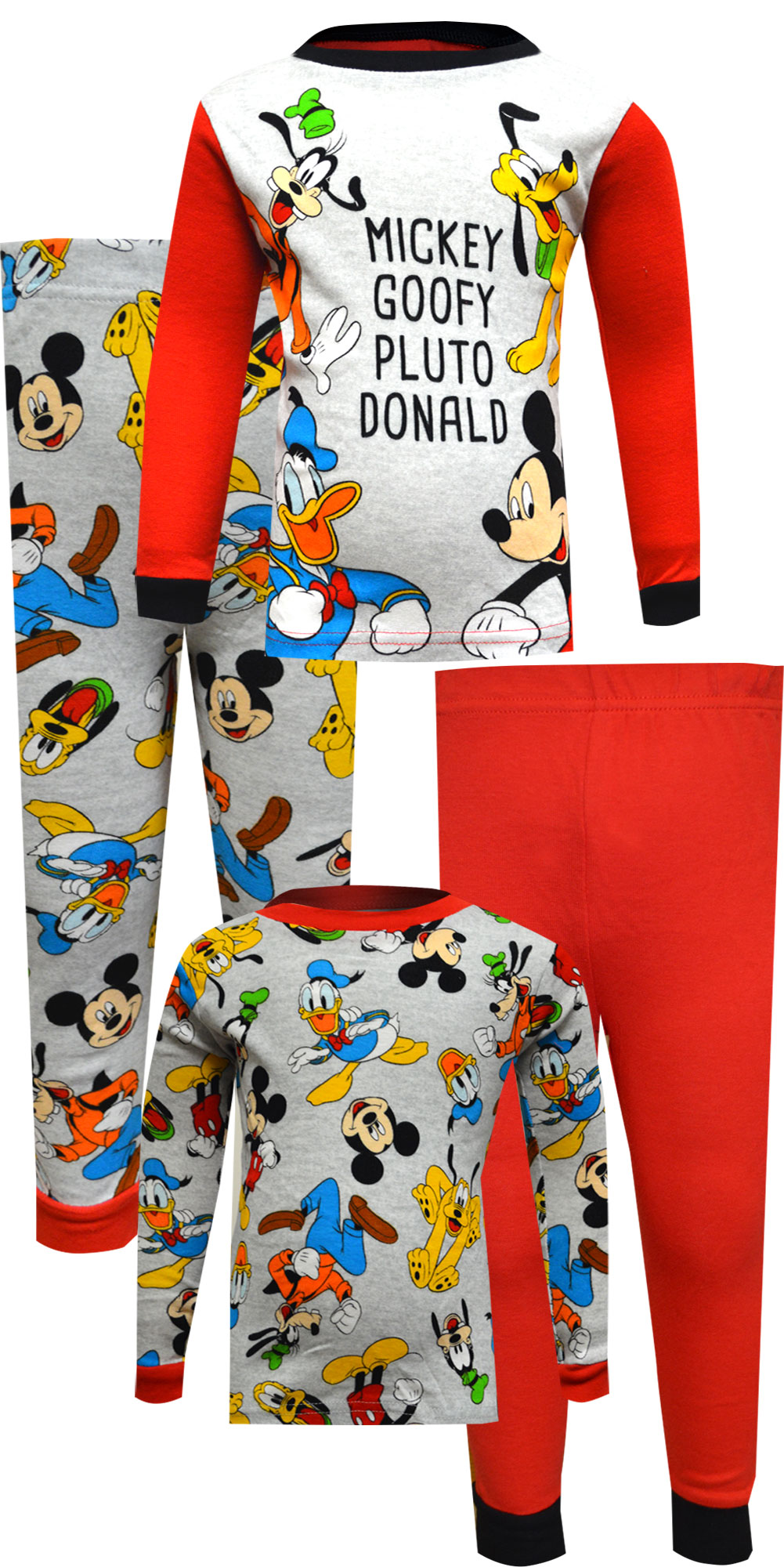 Image of Disney Jr Mickey Goofy Pluto Donald 4 Pc Cotton Toddler Pajamas for boys