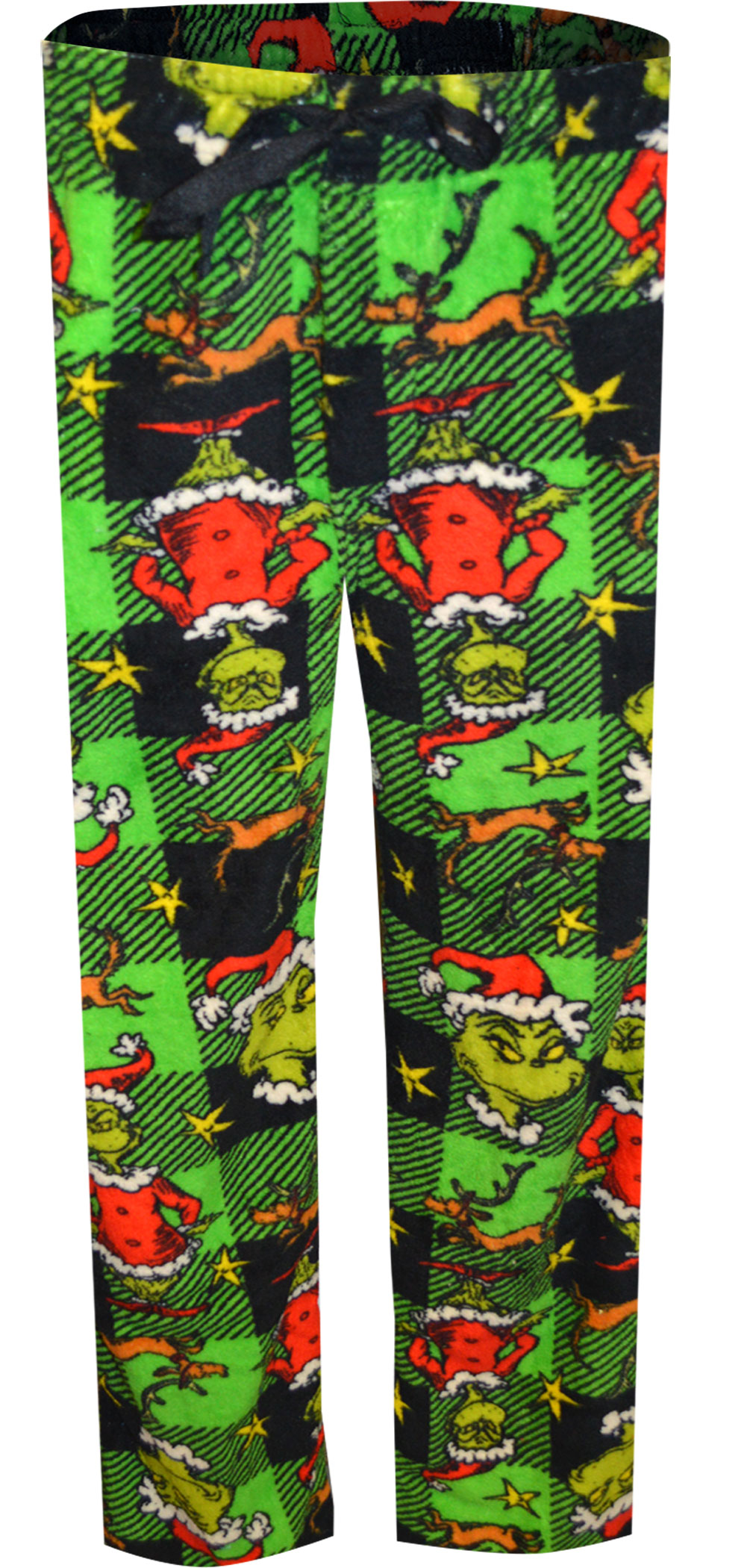 Image of Dr. Seuss The Grinch and Max Buffalo Plaid Plush Lounge Pants for men
