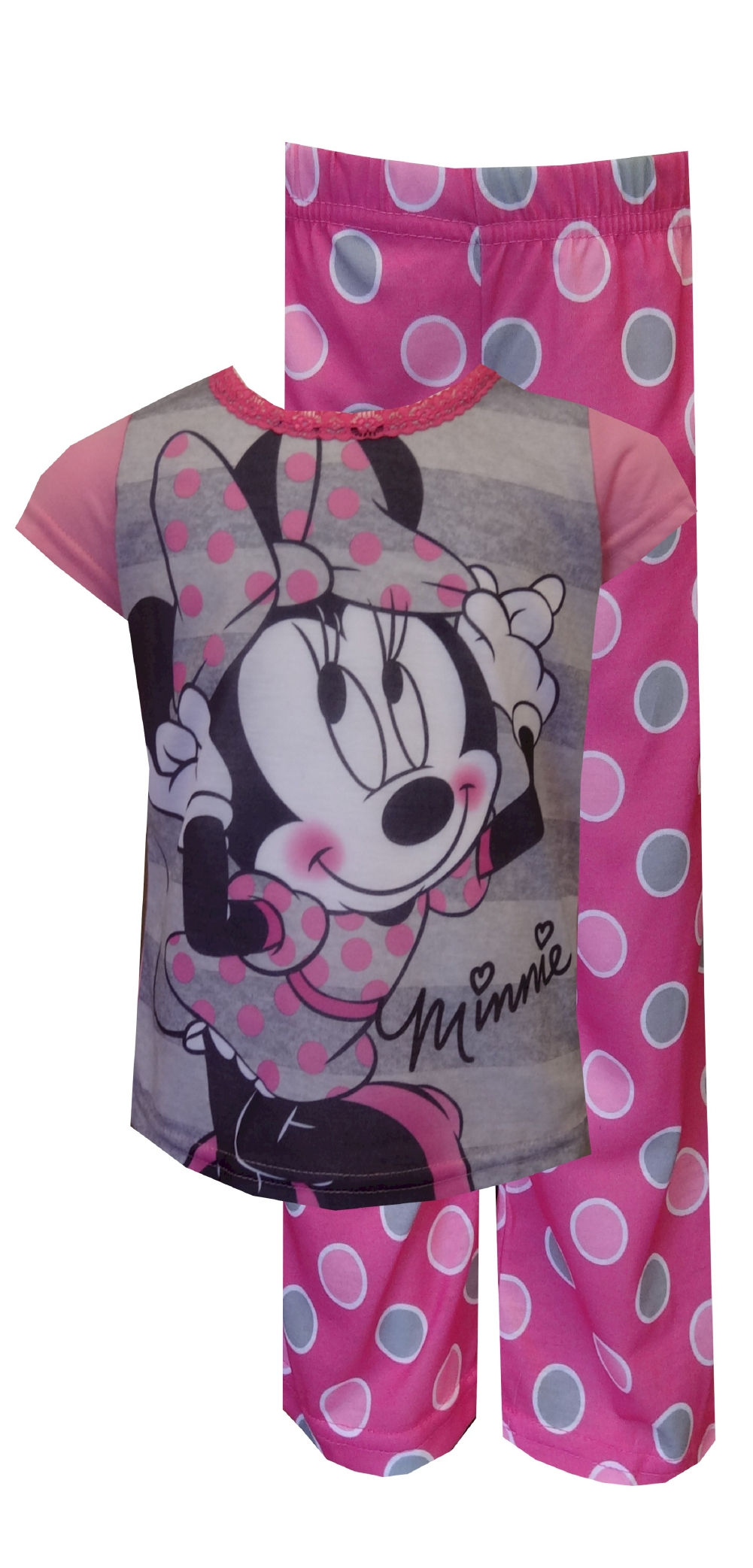 Image of Disney Minnie Mouse Pink Polka Dot Pajamas for girls