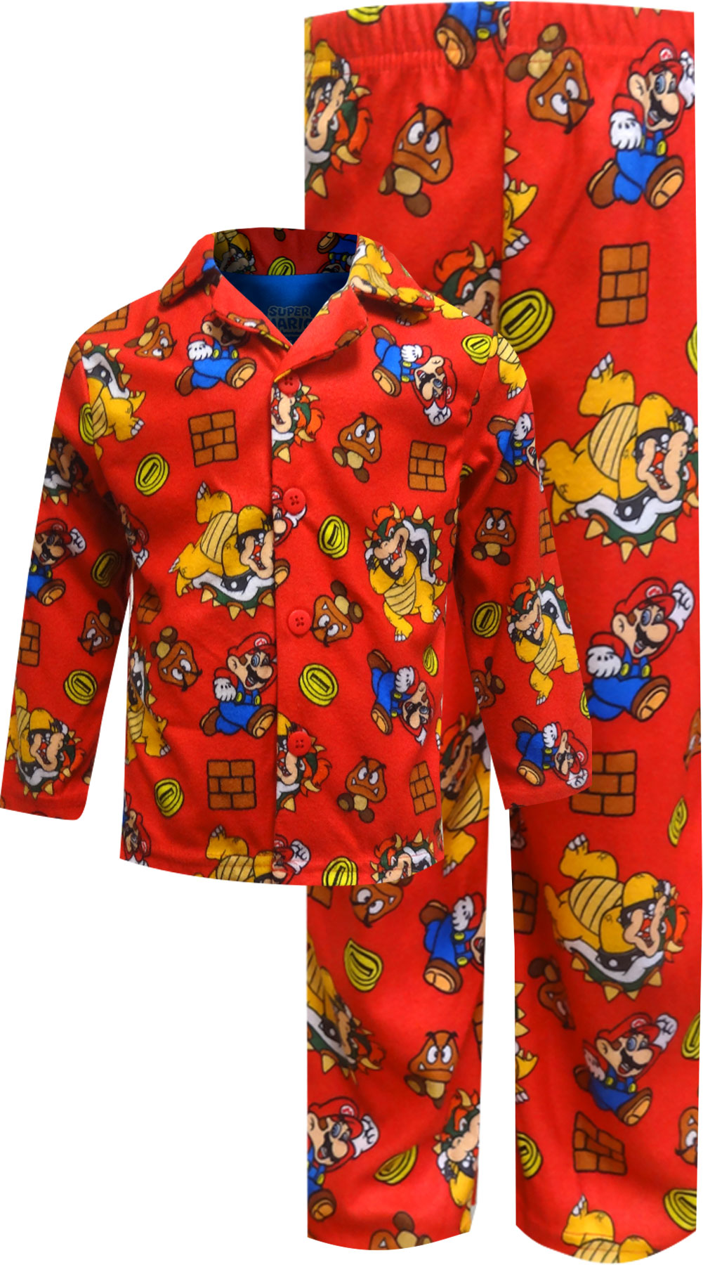 Image of Super Mario Brothers U Red Button Front Pajamas for boys