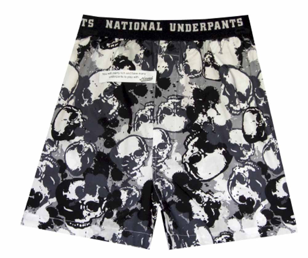 Image of Camo Skulls Woven Cotton Boxers (Small) for men