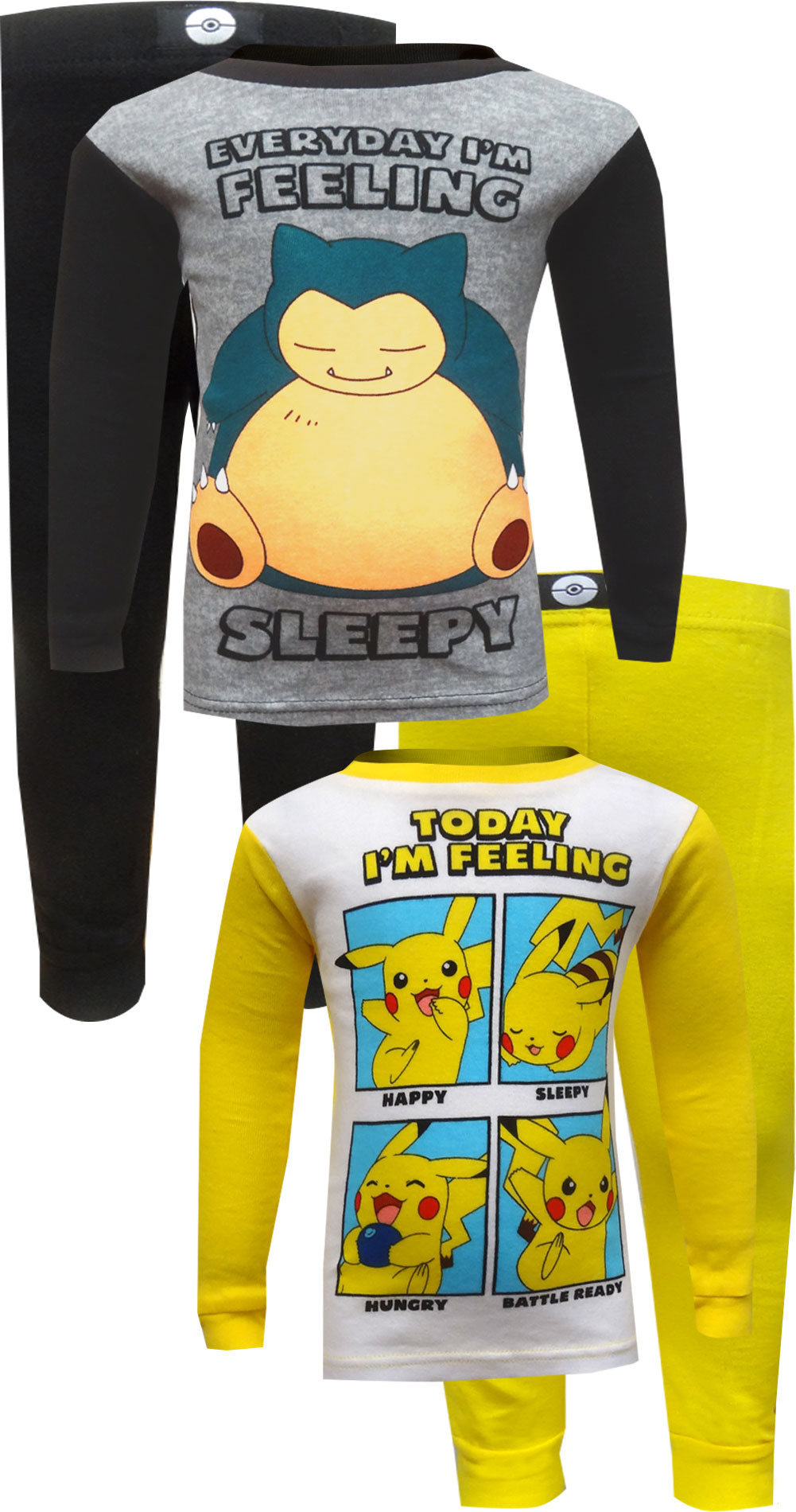 Image of Pokemon Pikachu and Snorlax Cotton 4 Piece Pajamas for boys