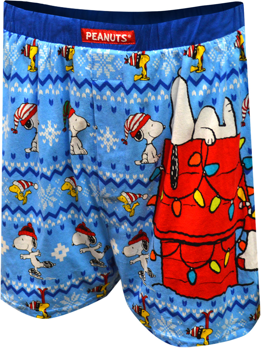 Image of Peanuts Snoopy and Woodstock Christmas Boxers for men