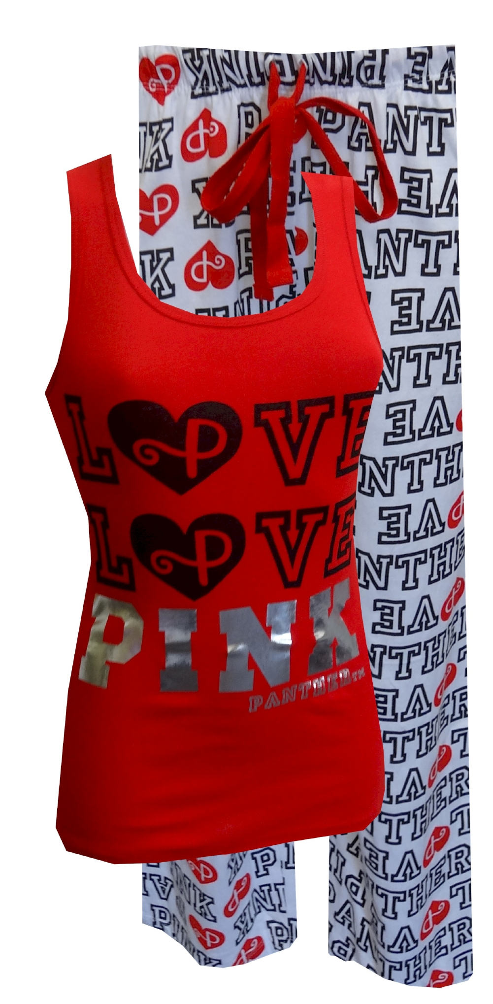 LOVE PINK Panther Red Tank and White Capri Pajama for women