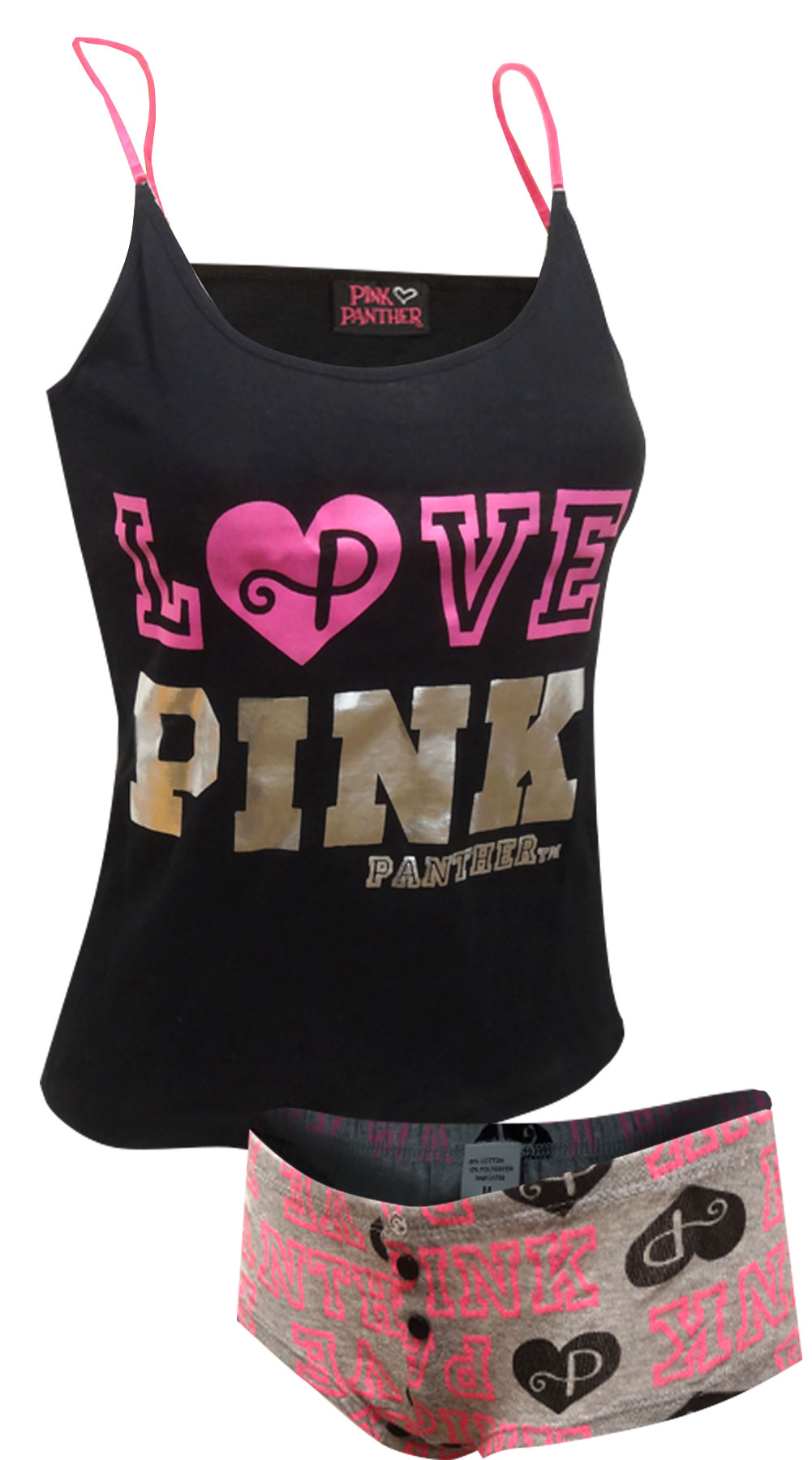 LOVE PINK Panther Black and Gray Shortie Pajama for women