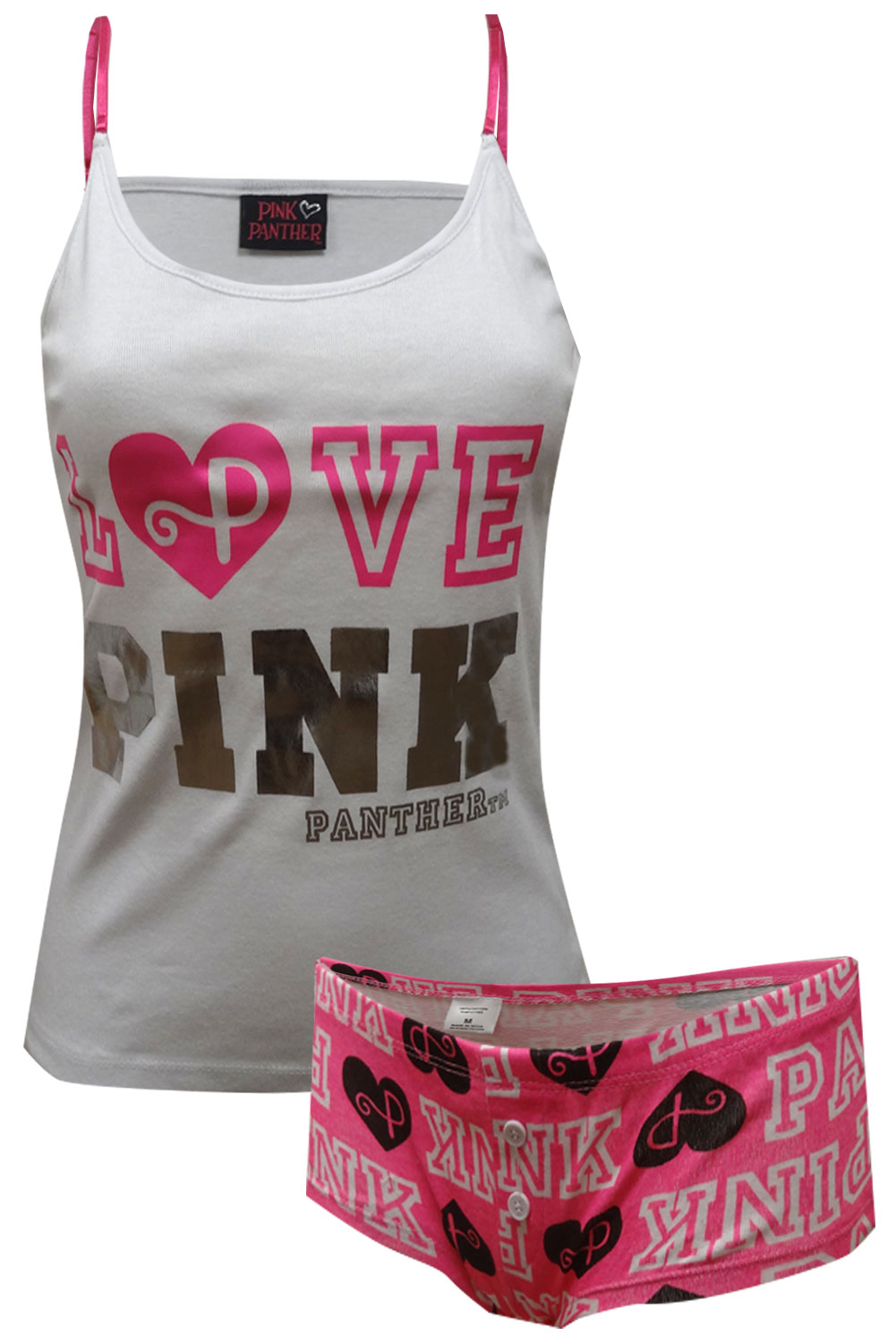LOVE PINK Panther White and Hot Pink Shortie Pajama for women