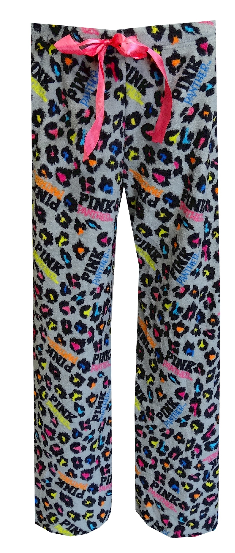 PINK Panther Neon Leopard Gray Plush Lounge Pant for women