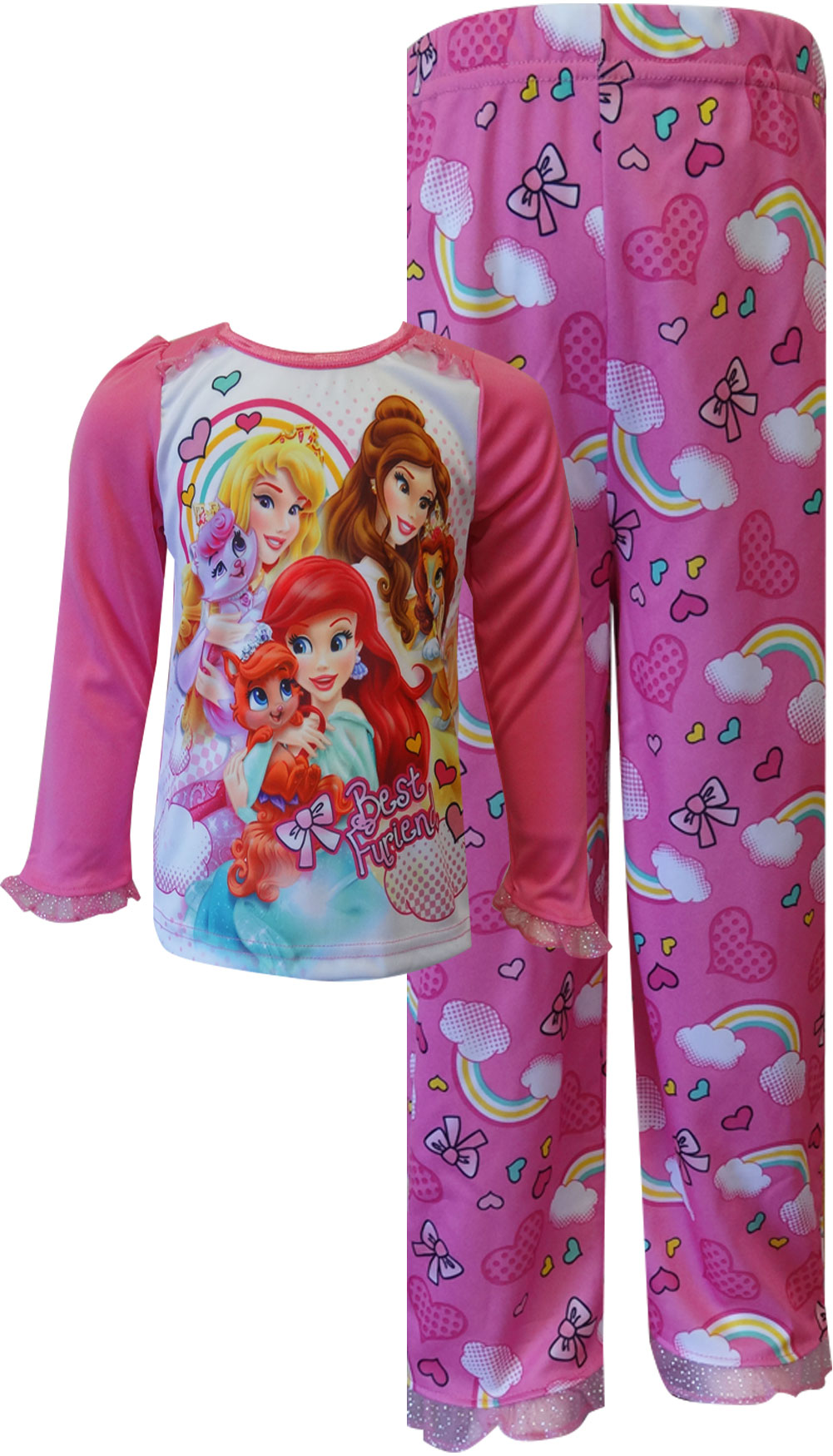Image of Disney Princesses and Pets Hearts and Rainbows PJs for girls
