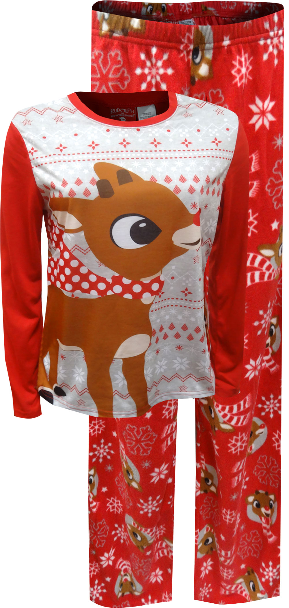 Image of Cute Rudolph The Red-Nosed Reindeer Pajama Set for Women