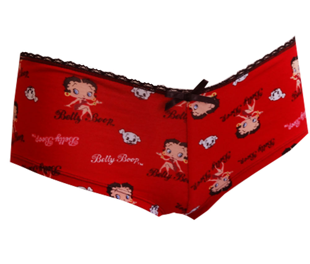 Betty Boop Womens Love and Peace Low Rise Boy Leg Panty