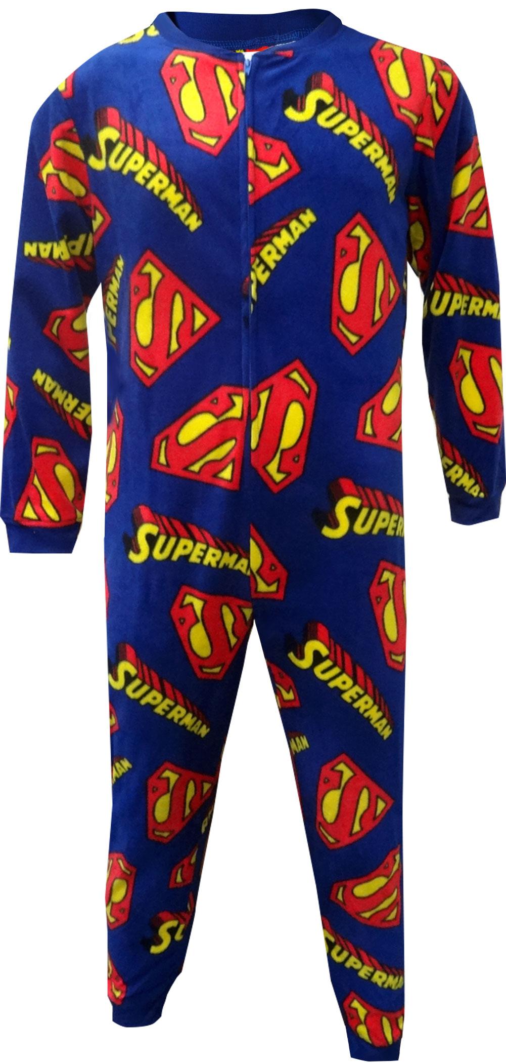 Superman Logos All Over Fleece Union Suit Pajama for men