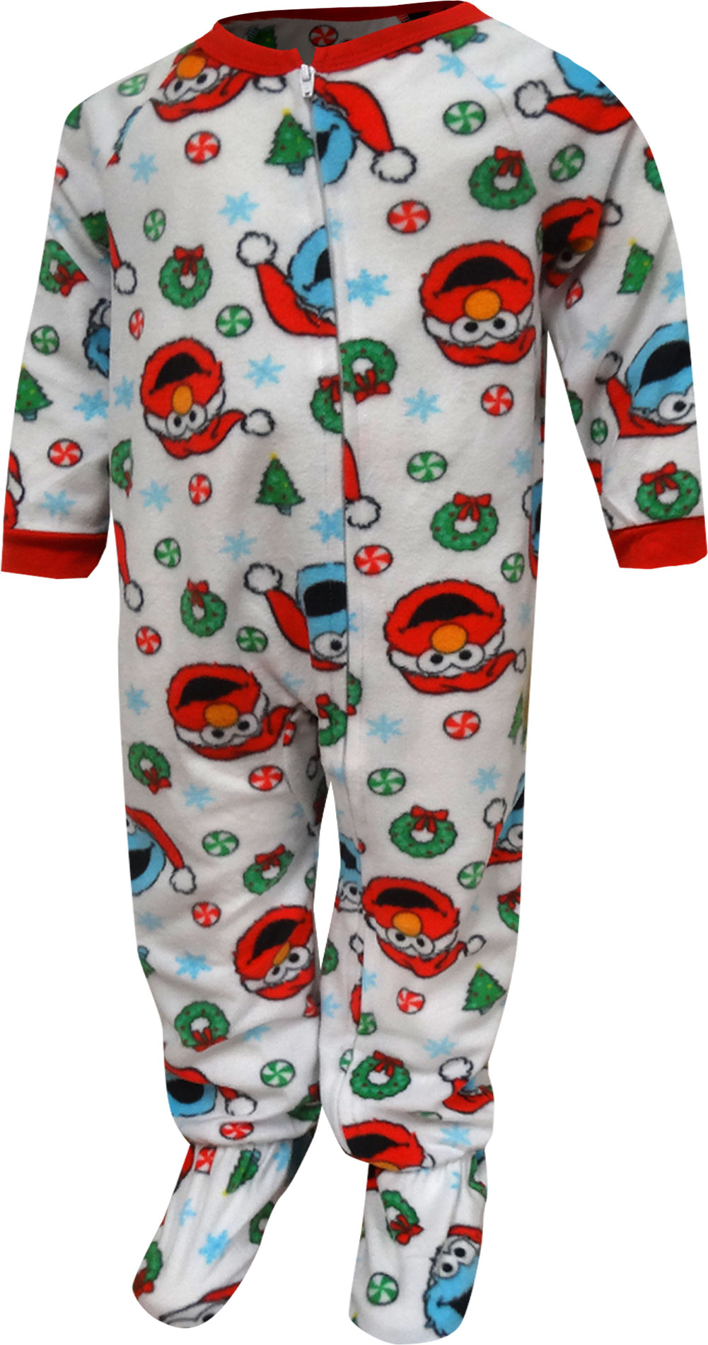 Image of Sesame Street Elmo and Cookie Monster Christmas Toddler Blanket Sleeper for boys