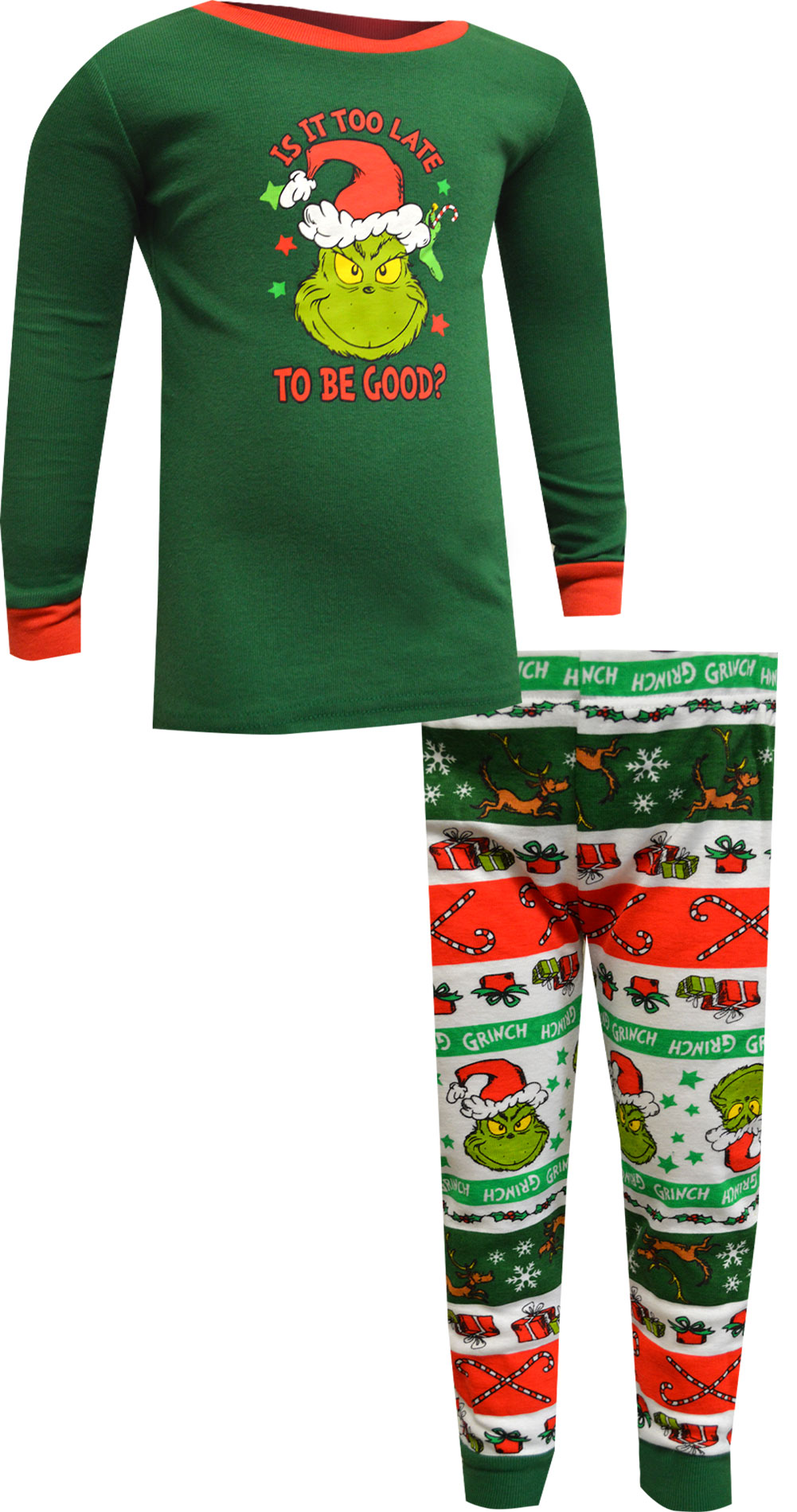 Image of Dr. Seuss The Grinch Is It Too Late To Be Good Toddler Pajamas for boys