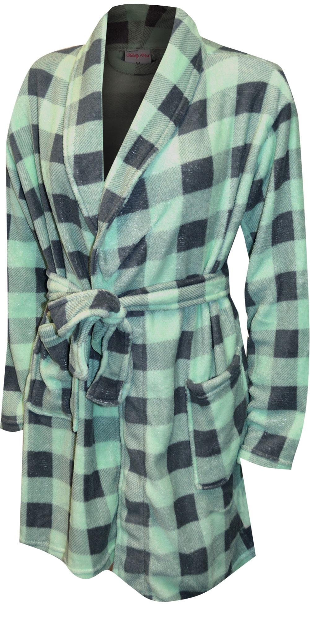 Image of Mint Green and Gray Buffalo Plaid Print Plush Robe for women