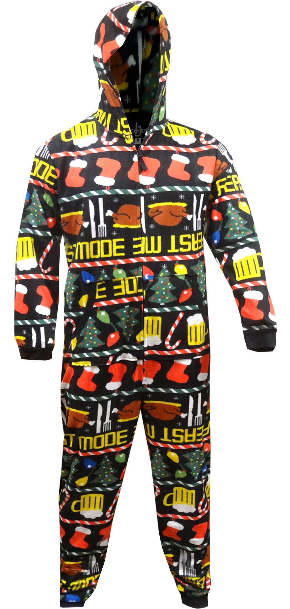 feast mode holiday hooded one piece pajama