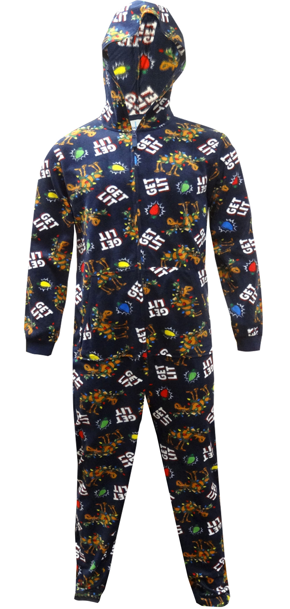 Image of Get Lit Holiday Hooded One Piece Pajama for men