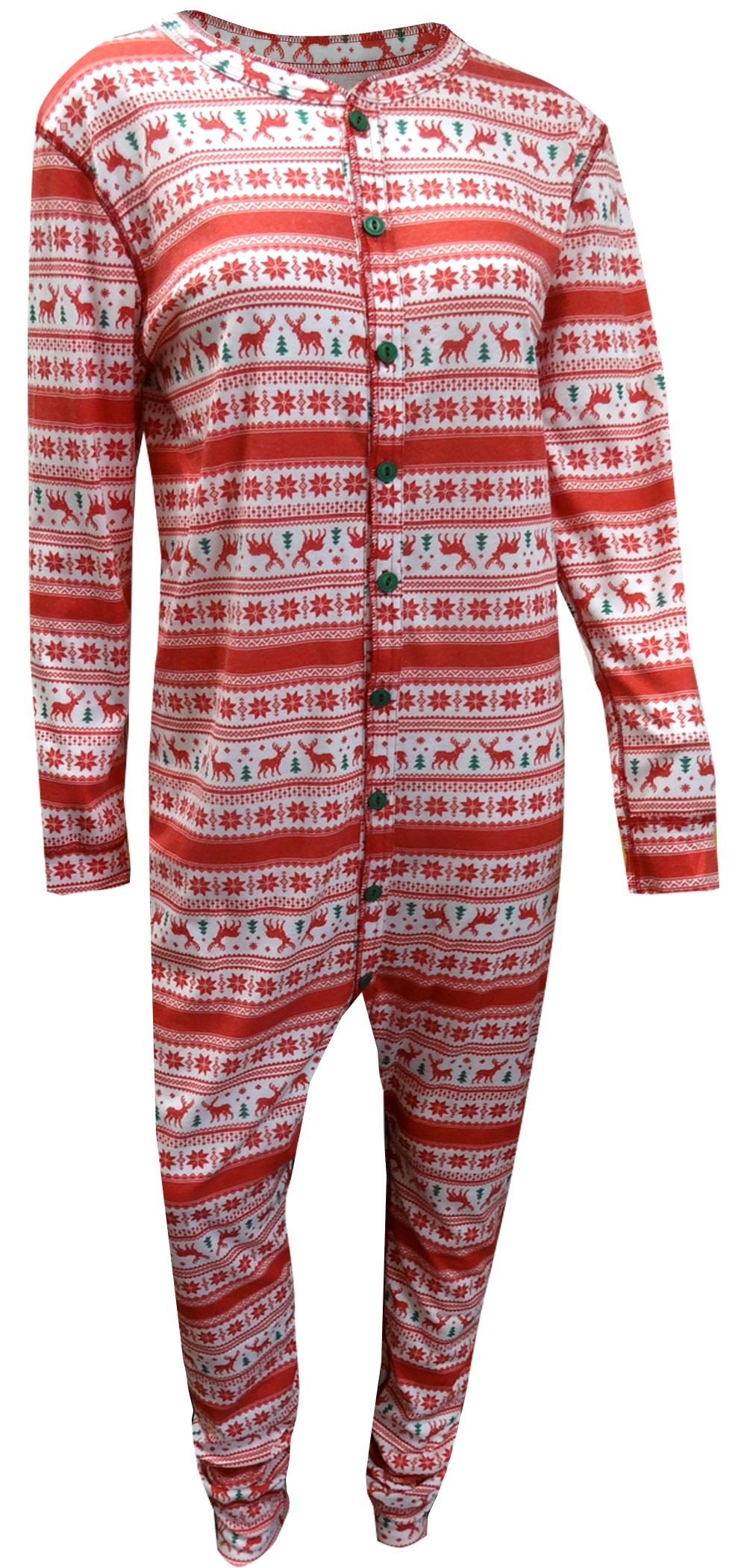 Image of Reindeer Holiday Sweater Union Suit Pajama With Drop Seat for men
