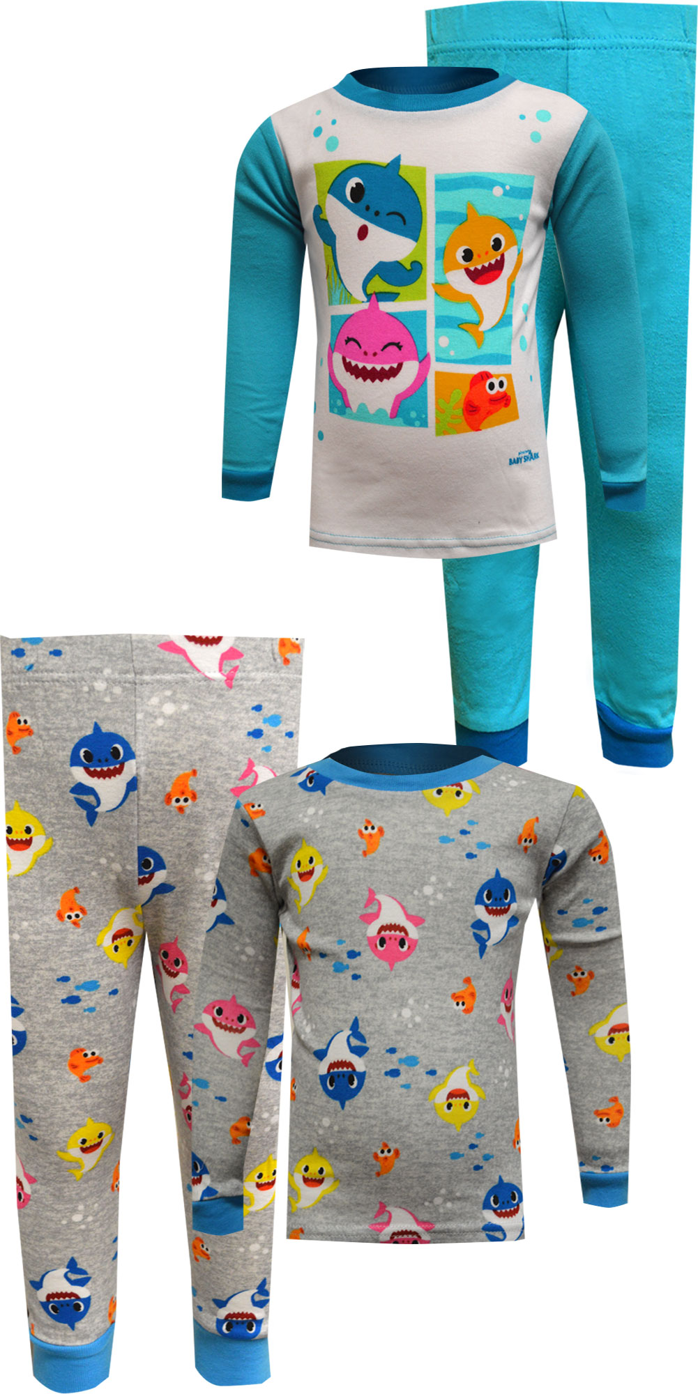 Image of Baby Shark 4 Piece Blue Cotton Toddler Pajamas for boys