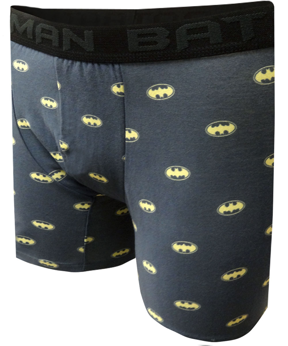 Image of DC Comics Batman Tiny Logos Gray Boxer Brief Mens for men