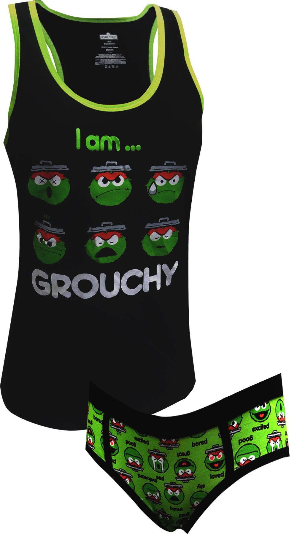 Sesame Street Oscar The Grouch Grouchy Tank And Hipster Set for women