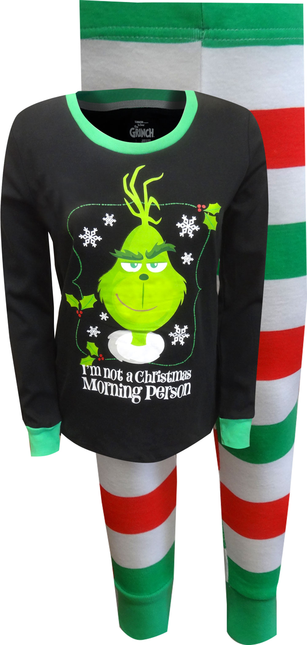Image of Dr. Seuss Grinch Not A Christmas Morning Person Ladies Pajamas for women