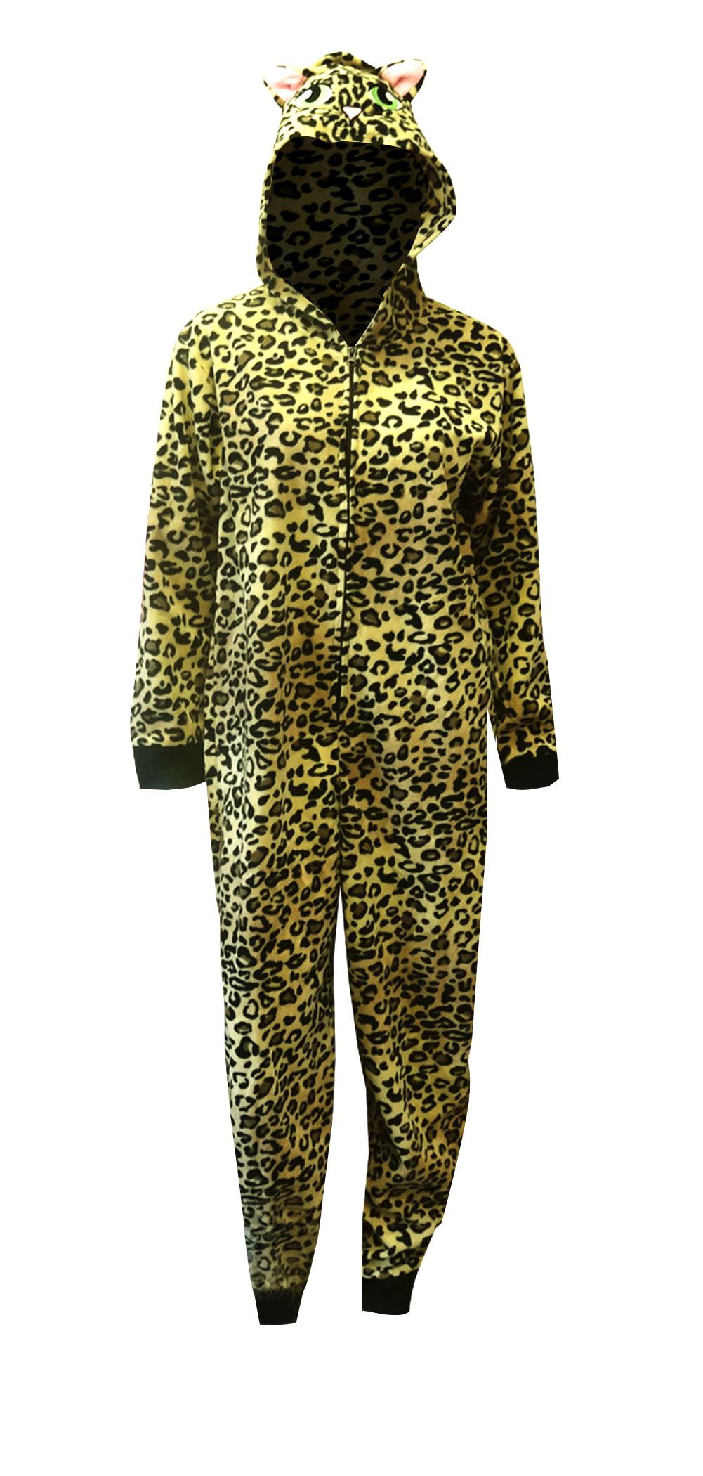 WebUndies.com Leopard Print Beige Hooded One Piece Footed ...