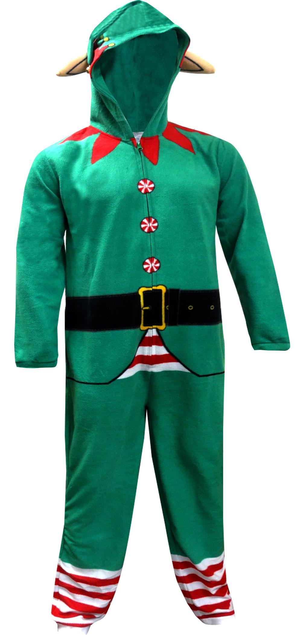 Image of Christmas Elf Onesie Hooded Union Suit Pajama for men